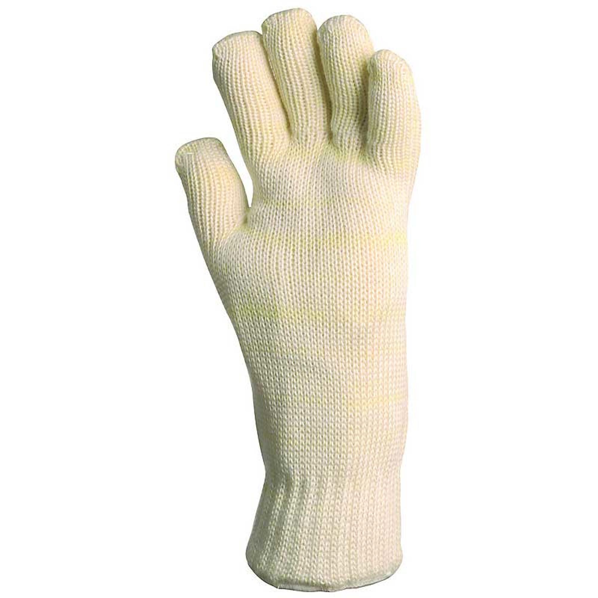 Kötött fehér nomex kesztyű, 35 cm, 350°c, pamut belső