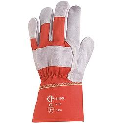 Bőrkesztyű, szürke marhahasíték/piros vászon kézhát