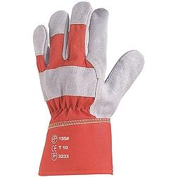 Bőrkesztyű, szürke marhahasíték, erős, piros vászon kézhát