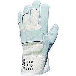 Bőrkesztyű, szürke marhahasíték / fehér vászon kézhát