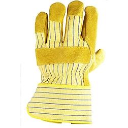 Bőrkesztyű, sárga marhahasíték / színbőr tenyérfolttal