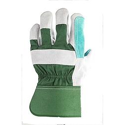 Bőrkesztyű, szürke hasíték, dupla bőr tenyér / zöld vászon