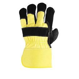 Bőrkesztyű, fekete marhahasíték / sárga vászon kézhát