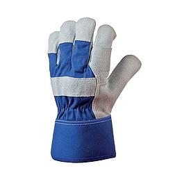 Bőrkesztyű, szürke dupla marhahasíték / kék vászon kézhát