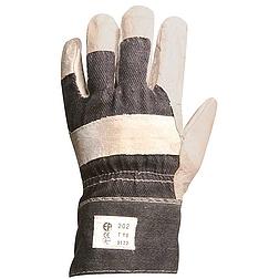 Bőrkesztyű, szürke marhahasíték / farmer kézhát,tenyérbélés