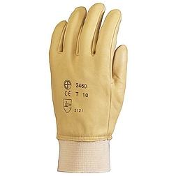 Bőrkesztyű, sárga színmarha tenyér és kézhát, víztaszító