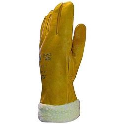 Bőrkesztyű téli bélelt, sárga színmarha / szőrmebélés 32cm