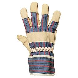 Bőrkesztyű, sárga színsertés / csíkos vászon kézhát