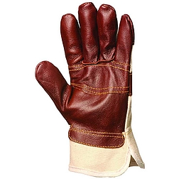 Bőrkesztyű, színes színmarha bútorbőr / fehér vászon kézhát