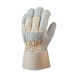 Bőrkesztyű, szürke színmarha / fehér vászon kézhát