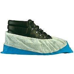 Cipővédő fehér pp felső, kék  csúszásgátló talppal