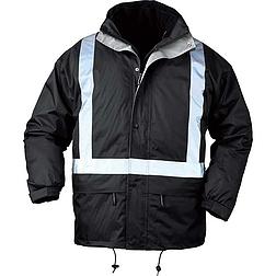 Bodyguard fekete 4 / 1 télikabát, fényvisszaverő csíkkal