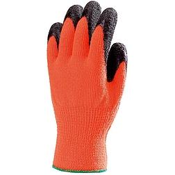 Szerelőkesztyű, narancs, téli, érdes fekete latex tenyér