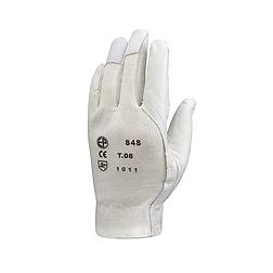 Bőrkesztyű, szürke színkecske / fehér vászon kézhát