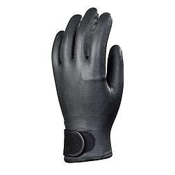 Bélelt fekete nitril védőkesztyű, tépőzáras csuklóval