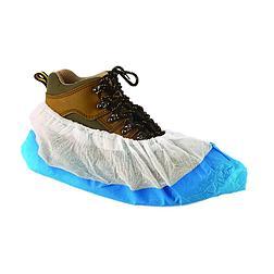 Cipővédő erősített PE kék talprésszel, fehér PP felsőrész
